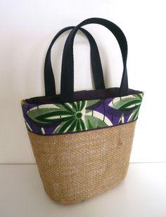 mini shopping en sac de café recyclé, tissu wax violet, passepoil violet