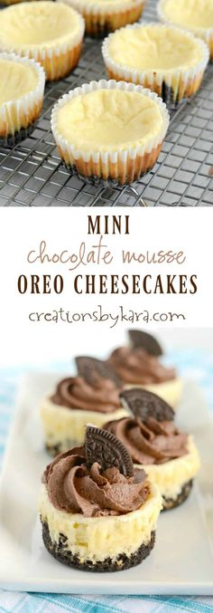 Recipe for mouthwatering Mini Cheesecake topped with Oreo Chocolate Mousse. These are so easy to make, and so yummy! A definite crowd pleasing dessert! (Christmas Drinks For A Crowd) Mini Dessert Recipes, Mini Desserts, Chocolate Desserts, Easy Desserts, Delicious Desserts, Chocolate Oreo, Chocolate Topping, Mini Oreo Cheesecake, Cheesecake Recipes