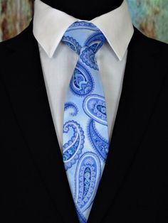 Blue Paisley Necktie – Mens Blue on Blue Paisley Tie. Available as a Skinny Tie and a Extra Long Tie Paisley Tie, Paisley Pattern, Make A Tie, Extra Long Ties, Light Blue Background, Tall Guys, Skinny Ties, Photoshop Design, Suit And Tie
