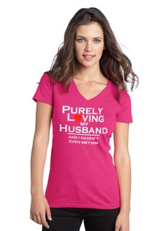 Purely Loving My Husband - Juniors V-Neck Christian T-Shirt (Fuchsia) | Mandisa Collection on SonGear.com