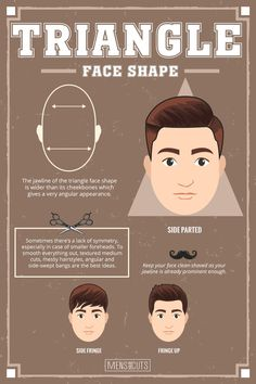 Triangle Face ★Face shapes guide to matching your haircut perfectly. Take advantage of your unique face shape features and enhance them with your head and facial hair. Face Shape Hairstyles Men, Triangle Face Hairstyles, Haircuts For Round Face Shape, Haircut For Face Shape, Cool Hairstyles For Men, Cool Haircuts, Haircuts For Men, Men's Hairstyles, Updo Hairstyle