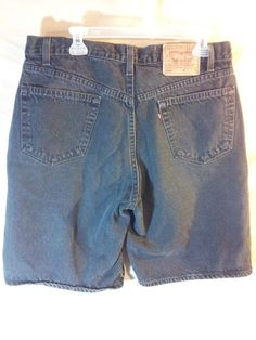 VINTAGE 80's Men's Levi Strauss 550 Relaxed Fit Black Jean Shorts USA MADE Sz 36 #Levis #Denim