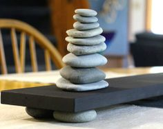 Make a calming zen centerpiece with stacked beach rocks.