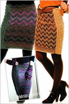 Основными отличительными элементами оригинальной юбки, выполненной спицами являются необычный зигзагообразный жаккардовый рисунок и боковые однотонные вставки с различными по размерам косами.