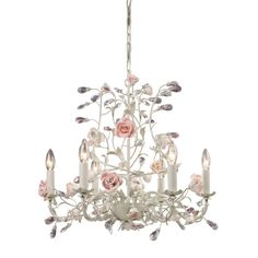 Heritage 6 Light Chandelier In Cream With Pink Porcelain Accents 8092/6