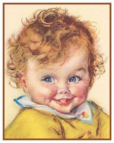 Cross Stitch Patterns Red Headed Baby by Maud Tousey Fangel Counted Cross Stitch Pattern 765552548799 Baby Illustration, Illustrations, Vintage Pictures, Vintage Images, Counted Cross Stitch Patterns, Cross Stitch Embroidery, Vintage Calendar, Baby Faces, Baby Prints