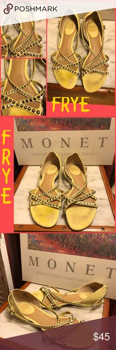 "8.5-FRYE ""MARGOT STUDDED"" YELLOW LEATHER SANDALS FRYE LIGHT YELLOW/SILVER STUDDED ""MARGOT STUDDED"" LEATHER SANDALS. SZ 8.5 M (medium/regular width). RETAIL $198. OVERALL GREAT CONDITION. THE ONLY SIGN THEY WERE WORN IS ON TOP INSOLE-LIGHT MARKS ON SURFACE(can't be seen when worn). PLEASE DO NOT HESITATE TO ASK ANY QUESTIONS! #frye #margotstuddedsandals #yellowleather Frye Shoes Sandals"