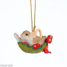 Charming Tails ~ Holly Ride Day ~ Mouse Christmas Ornament  2014 Free Ship w/$20