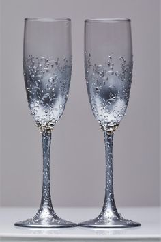 Wedding silver glasses Champagne flutes Personalized wedding