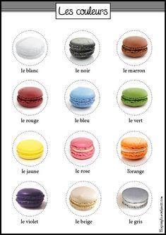 Colors in French - Les couleurs en français - macarons - fle - vocabulaire #learnfrench