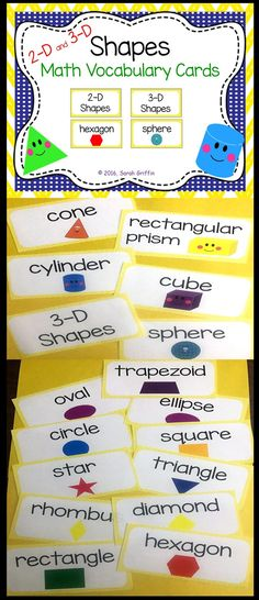 and Shapes Math Vocabulary Cards Vocabulary Activities, Teaching Resources, Teaching Ideas, Preschool Set Up, Preschool Activities, Math Stations, Math Centers, Math Focus Walls, Math Wall
