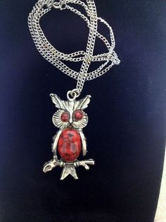 1960's Red Stone & Silver Toned Owl Necklace by by RetrosaurusRex