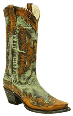 e63bd6cd3b0 Ladies Charcoal Green Orange Wing Tip Boot Scootin Boogie