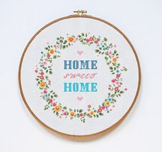 Home Sweet Home Cross Stitch Pattern Home Modern por Stitchering