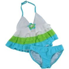 Kate Mack Turquoise Lime Green and White 2 Piece Ruffle Top Swimsuit