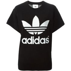 Adidas Originals Hyke Sweater (960 ARS) ❤ liked on Polyvore featuring tops, sweaters, t-shirts, shirts, black, cotton sweaters, black crewneck sweater, crew neck shirts, loose sweater and loose black shirt