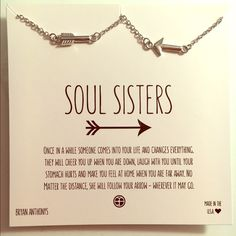 Soul Sister Necklace Set I bought 2 of these online, not realizing that they came in a set, so now I have 2 sets. New in plastic, never been worn. I bought this as a gift for me and the maid of honor in my wedding, who I've always called my soul sister :) Jewelry Necklaces
