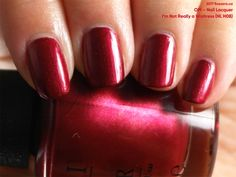 OPI Nail Lacquer in I'm Not Really a Waitress (swatch by fivezero.ca)[red,metallic]