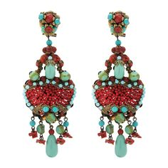 These striking coral and turquoise earrings are all unique, there is only one of each pair in the collection. Perfect for the coming summer months, these ear...