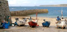 Cornish fishing boats at Sennen Cove in Cornwall. Cornwall England, North Cornwall, Cornish Coast, Beach Quilt, Fishing Photography, Natural Curiosities, States In America, Fishing Videos, Ponds
