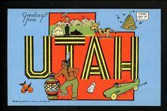 Large Letter Like linen postcard Cartoon Comic Style Kropp CM29 Utah UT Indian