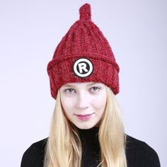 e4f84ce9bee3f 2017 New Winter Fall Woman Fashion Heap caps Keep warm Ski Hat Knitted Plus  cashmere multiple