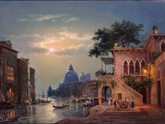 Misty Night in Venice Oil painting Step by Step Tutorial - YouTube