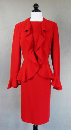ANNE KLEIN Red Sleeveless Sheath Dress and Ruffled Jacket Career Suit Size 8 #AnneKlein #DressSuit