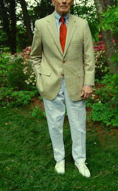 J. Press Silk/Woll 3/2 roll sport coat. J. Press OCBD. Sam Hober Raw Silk tie, O'Connell's forward pleat white Duck trousers, Marcoliani, Blue crew socks, Allen Edmonds Nassau Kiltie with braided bow.