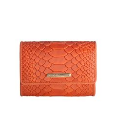 Orange Classic Small Foldover Wallet - Embossed Python