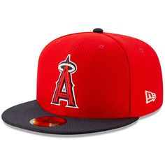 678939950f9 Men s Los Angeles Angels New Era Red Navy 2019 Batting Practice 59FIFTY  Fitted Hat