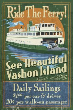 Vashon Island, Washington - Ferry Ride Vintage Sign (36x54 Giclee Gallery Print, Wall Decor Travel Poster) *** Don't get left behind, see this great  product : Kitchen Table Linens