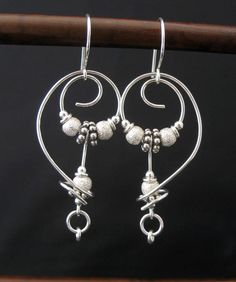 Artisan Free Form Metal Earrings, Sterling Silver Wire, Beads by LoneRockJewelry on Etsy