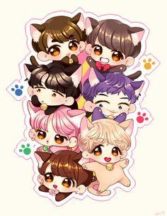 Anime Wallpaper Live, Bts Wallpaper, Bts Chibi, Anime Chibi, Bts Drawings, Bts Fans, Bts Lockscreen, Album Bts, Bts Pictures