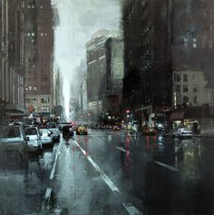 Jeremy Mann's Cityscapes - not sure if this is intended to be New York, but it sure reminds me of rainy days there.