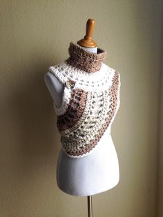 Cream-Tan-Oatmeal Cowl Vest Sweater-READY TO by STITCHandCABOODLE