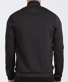 Alessandro Zavetti sweat with mixed paneling... woven branding at back hemline