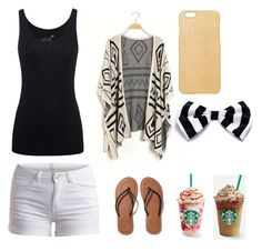 """""""Starbucks with my bestie"""" by gretchenlover ❤ liked on Polyvore featuring Juvia, Pieces, Maison Takuya and Abercrombie & Fitch"""