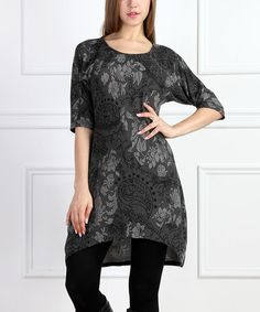 Look what I found on #zulily! Charcoal & Black Floral Shift Dress #zulilyfinds