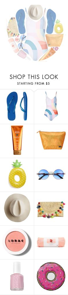 """""""• HERE COMES THE SUN •"""" by brenndha ❤ liked on Polyvore featuring Havaianas, Mara Hoffman, Alterna, Stephanie Johnson, Big Mouth, Artesano, LORAC, ban.do, Essie and Round Towel Co."""