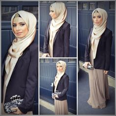 Sophisticated hijabi style. Great neutral tones, navy blue and a pop of gold