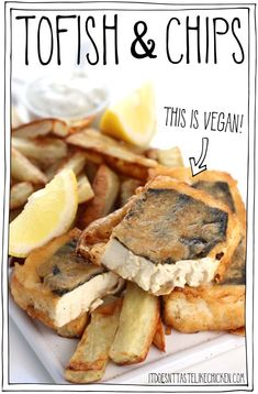 "Tofish and chips- (Vegan fish and chips)!! The ""fish"" is made from tofu with a special technique that makes it flaky and full of flavour, all fried up in a homemade beer batter. #itdoesnttastelikechicken #vegan"