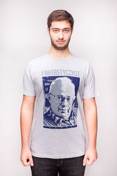 Męska koszulka ze Stanisławem Lemem.  www.farsa.eu