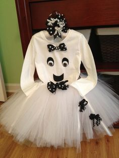 Ghost Tutu for Halloween-ALL pieces included-Girls Size 2t-5t