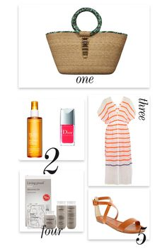 Beach Vacation :  1. Carla Fernandez beach bag  2. Clarins Sunscreen spray/ Dior Nail Vernis  3. LemLem Dehna striped cotton-blend voile cover up  4. Living Proof No Frizz Discovery Kit  5. Kira Sandal