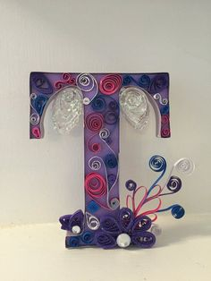 Request a custom monogram letter , quilled T Quiling Paper, Quilled Paper Art, Quilling Paper Craft, Monogram Letters, Letters And Numbers, Quilling Designs, Quilling Ideas, Stylish Alphabets, Quilling Letters
