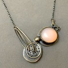 Jaime Jo Fisher - pale pink pendant - Made with oxidized sterling silver and glass in an icy pink