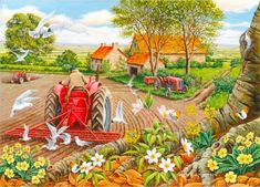 House of Puzzles Red Harrows - 500 Extra Large Jigsaw Puzzle for sale online Pictures To Draw, Cool Pictures, Best Jigsaw, Nostalgic Art, Country Scenes, Country Art, Country Life, Puzzle Art, Puzzle Games