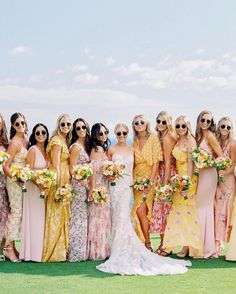 """Carats & Cake on Instagram: """"Bridesmaid gowns in every shade! 🌈 Cheerful, sophisticated—with memorable hues and patterns—your bridal party can wear every color of the…"""" Mismatched Bridesmaid Dresses, Bridesmaid Flowers, Bridesmaids, Bridesmaid Gowns, Bridesmaid Inspiration, Wedding Inspiration, Chic Wedding, Wedding Styles, Wedding Details"""