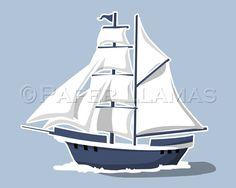 Sail Boat  art print  custom colors pirate ship by PaperLlamas, $14.00